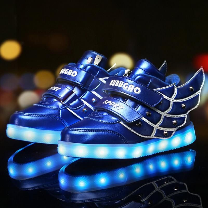 2016 Spring New Kids Children LED light shoes charging Lighted Boys Girls sports fashion Autumn luminous sneakers
