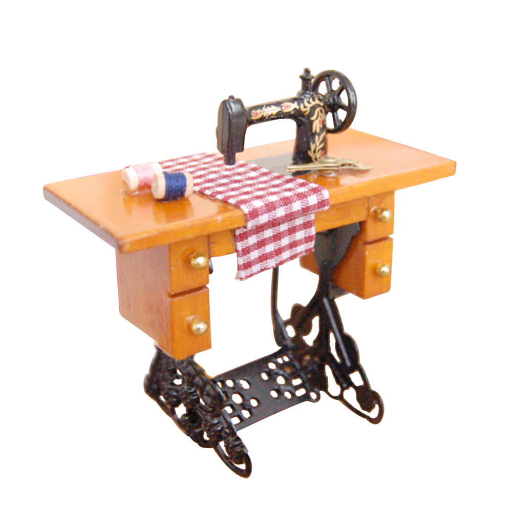 Гаджет  New Arrive wooden vintage Dollhouse Miniature furniture Sewing Machine toys accessories for Doll House None Игрушки и Хобби