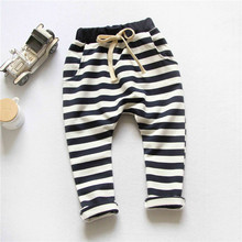 2015 spring&Autumn new style fashion 100% cotton Stripe boys pants girls harem pants kids for 3-10 year baby pants free shipping(China (Mainland))