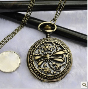FG-052Free Shopping Pocket watch wholesale antique fashion High Quality retro alloy dragonfly pocket watch(China (Mainland))