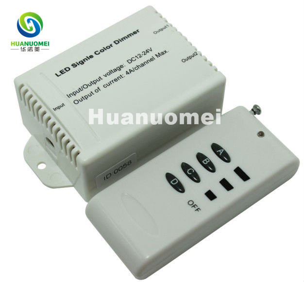RF Audio constant voltage dimmers;led single color dimmer controller;DC5V/DC12~24V;Output current:4A*2channels(China (Mainland))