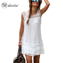 New Elegant Summer Autumn Women Lace Dress 2015 Sexy Sleeveless Hollow Out Beach Mini Dresses Casual Patchwork White Vetidos 2XL
