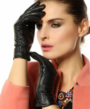 Ladies New Lambskin Fashion Sexy Leather Gloves