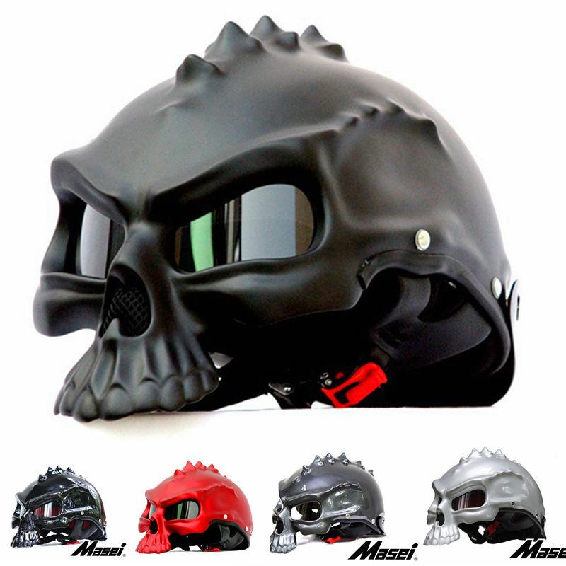 Masei 8 color Dual Use Skull Motorcycle Helmet Capacetes Casco Novelty Retro Casque Motorbike Half Face Helmet free shipping(China (Mainland))