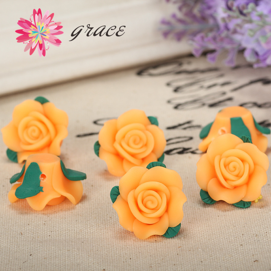 23mm Artificial Polymer Clay Fimo Resin Flowers Heads Orange Yellow Rose Beads Charm Diy Making Beautiful Necklace Hair Jewelry(China (Mainland))