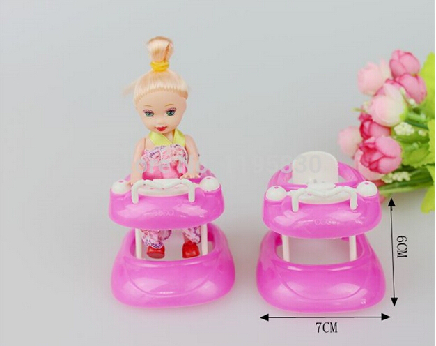 Pink Plastic Walker 1:6 Miniature Accessories For Barbie Doll House Dollhouse Furniture include Random Kelly doll(China (Mainland))