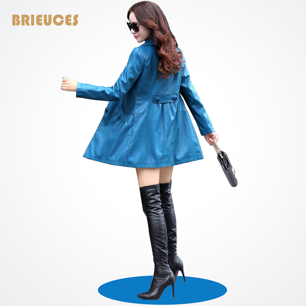 Write Beauty Leather Jacket Women Plus Size 4XL Pu Pandora collar Ladies Faux Synthetic Long Leather Trench Coat Female 4 COLORS(China (Mainland))