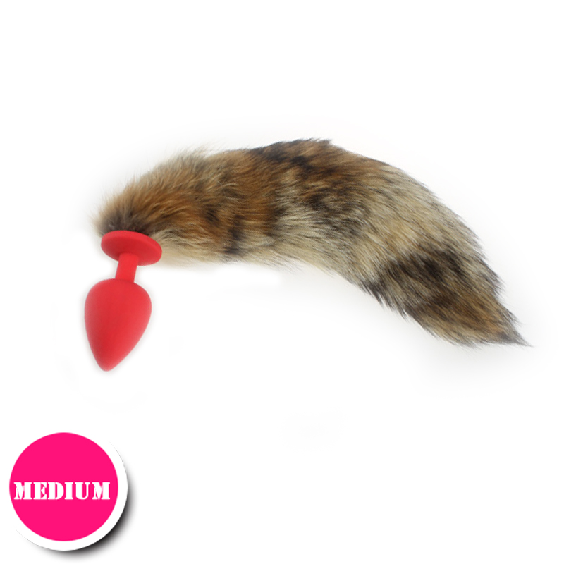 Medium size Red fox brown tail colourful Siliconeshead Anal tail Butt Plugs anal sex toy cosplay Adult Games(China (Mainland))