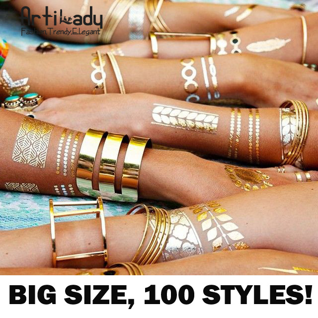 Buy 5 sheets temporary disposable metallic tattoo gold for Tattoo prices by size