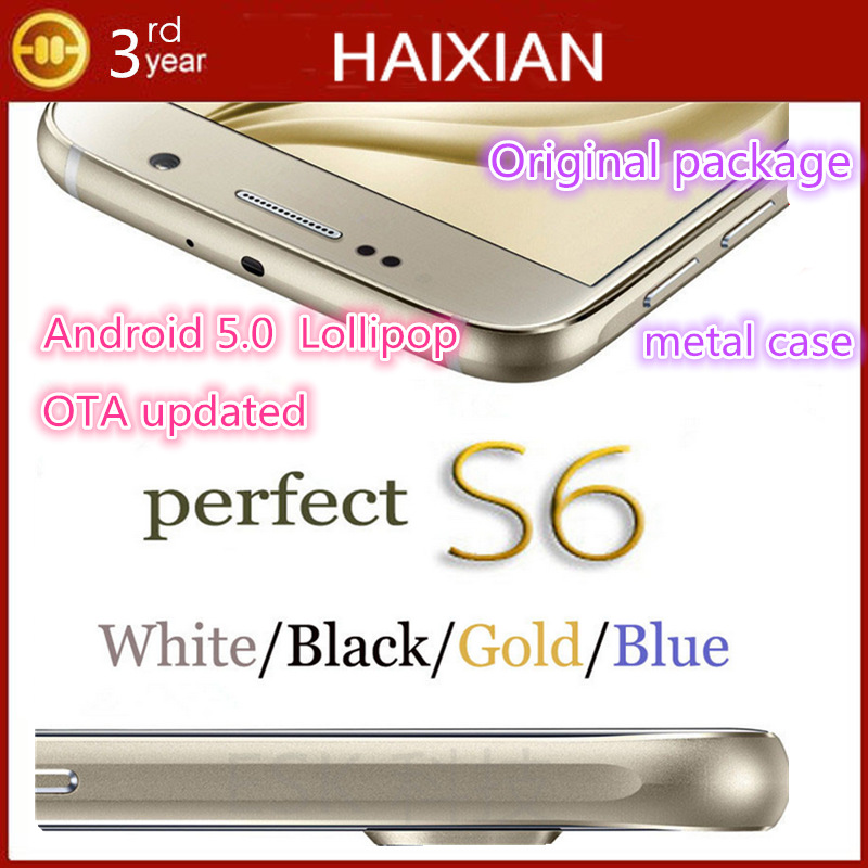 2015 5.1 inch S6 phone cell phones Metal frame android 5.0 lollipop MTK6582 3G WCDMA GPS 13MP HD IPS screen Mobile phone G920F(China (Mainland))