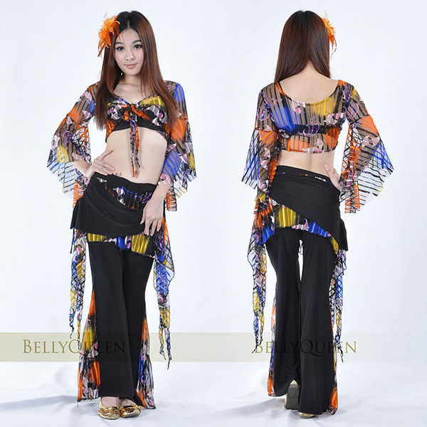 *Free Shipping* New Design Style Unique Color Belly Dance Costume 2Pcs Top+Pants For Practice or Performance,One Color Available(China (Mainland))