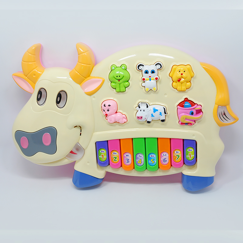 Lovely Safe Plastic Educational Piano like Cow Shaped Electric Music Instrument with Cute Buttons and Different Music Baby Toy(China (Mainland))