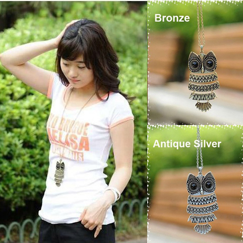 product Antique Retro Metal Owl Long Sweater Chain Necklace 2pcs/Lot Free Shipping Z-A3020