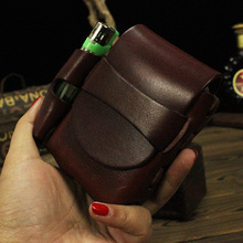 Genuine leather brand lighter case leather fashion black cigarette lighter box men's cigarette gift high-quality(China (Mainland))