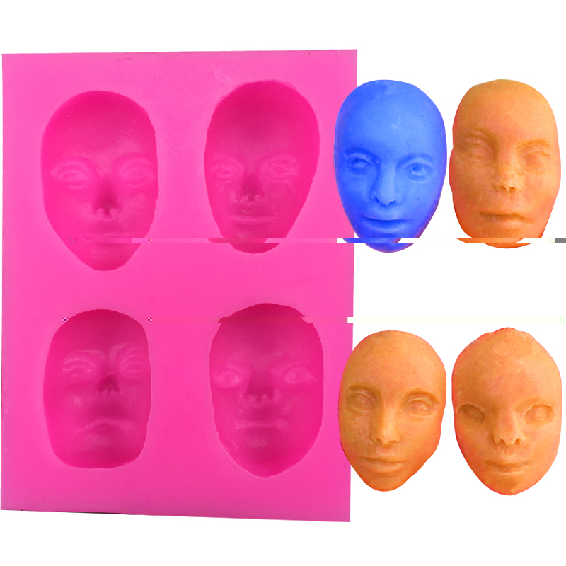 Free shipping 4 form different masks silicone mold cooking mold fondant cake decorating tool soap mold FT-056(China (Mainland))