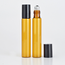 Wholesale 100Pieces/Lot 10 ML Roll On Portable Amber Glass Refillable Perfume Bottle Empty Essential Oil Case With Plastic Cap(China (Mainland))