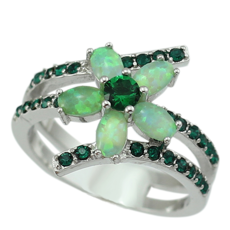 New Arrival Green Fire Opal Stones Flower Shape Women Opal Rings With Green CZ Size 6 7 8 9 OR839 Free Gift Box(China (Mainland))