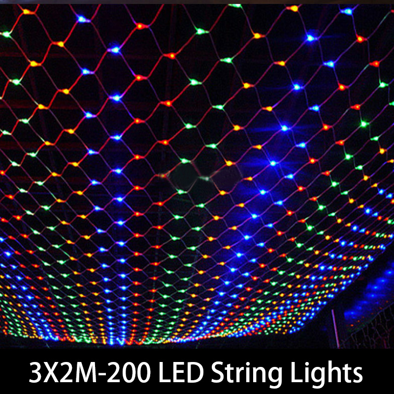1set & 3M x 2M LED Twinkle Lighting 200 LED xmas String Fairy Wedding Curtain background Outdoor Party Christmas Lights 220V(China (Mainland))