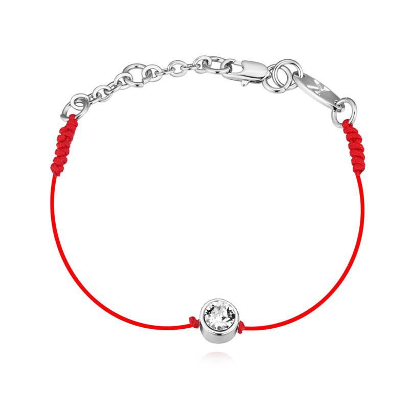 2016 New Crystals From SWAROVSKI Thin Red Cord Thread String Rope Bracelet With Rhodium Gold Plated Chain Women Girls Gift(China (Mainland))