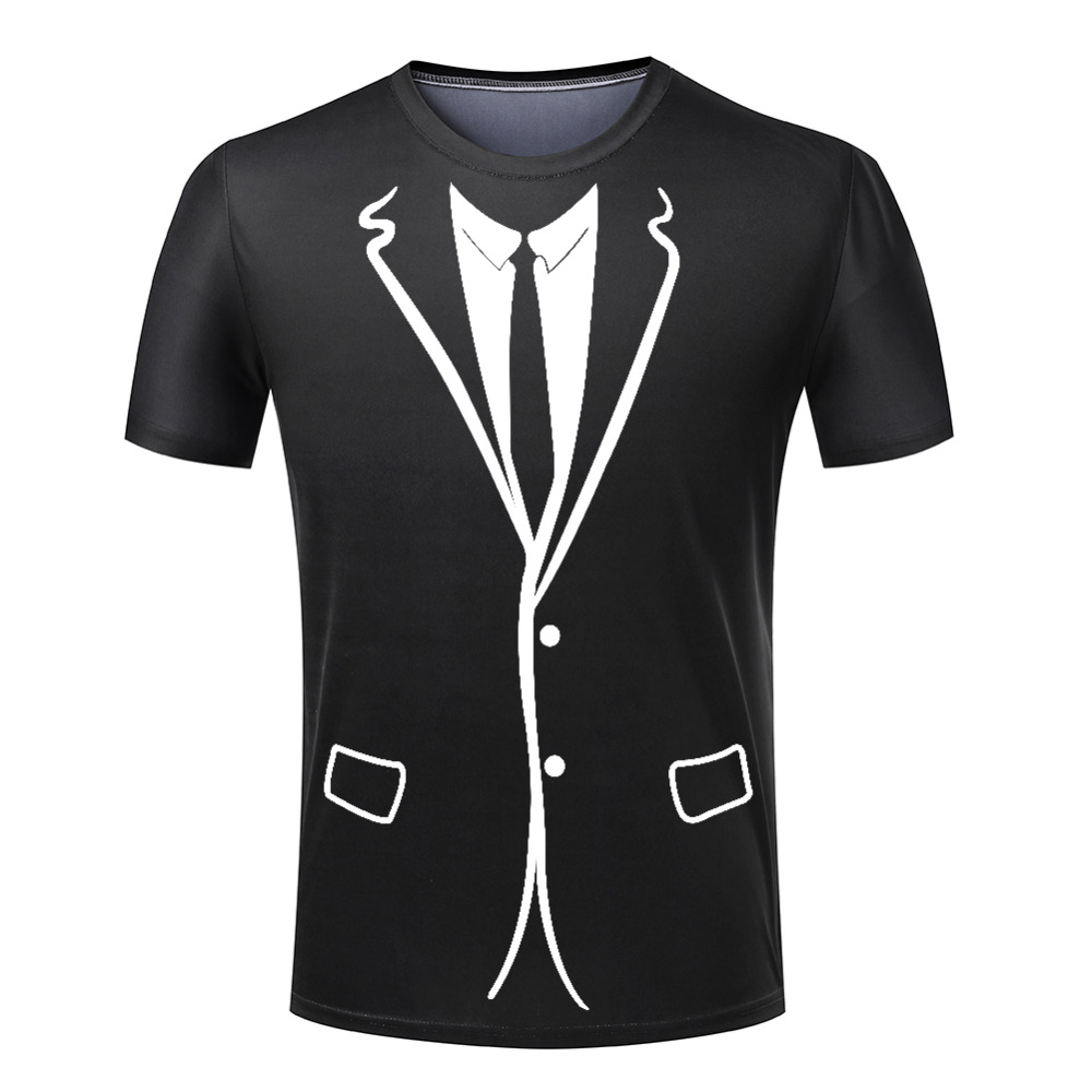 2016 Hot cheap men DE -Tuxedo T shirt Funny 3D printing shirts Polyester Top Short Sleeve T-Shirts summer shirt Plus Size S-4XL(China (Mainland))