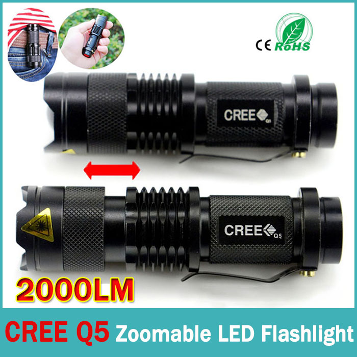USA EU Top Selling Style CREE Q5 Flashlight 2000LM Aluminum Zoomable cree led flashlight Torch lamplight for 14500 battery(China (Mainland))