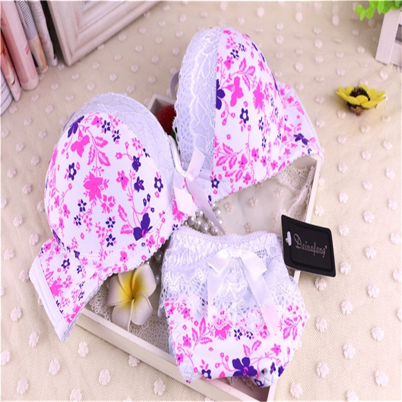 New Sexy Women Bra Set Fashion Print Lace Bow Decorative Underwear Women 3/4 Cup Under Thick Thin Push Up Bra Lingerie Set 2754(China (Mainland))