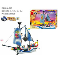 305Pcs Enlighten Pirate Series Pirate Ship Scrap Dock Model Building Blocks Sets Minifigures Compatible With Legoed Lbk_qm_023