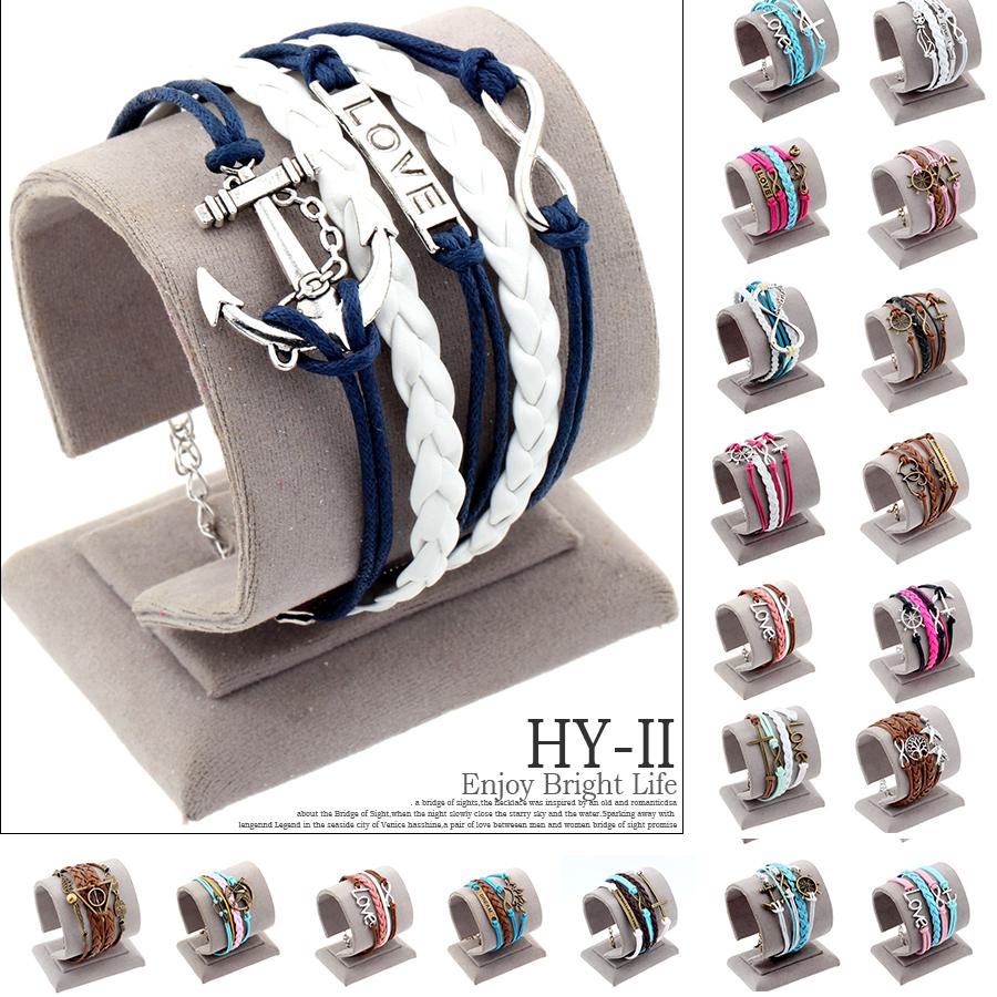 Vintage Braided Anchors Rudder bracelete Love owl best friends Leather Bracelet men jewelry heart Rope wrap Bracelets for women(China (Mainland))