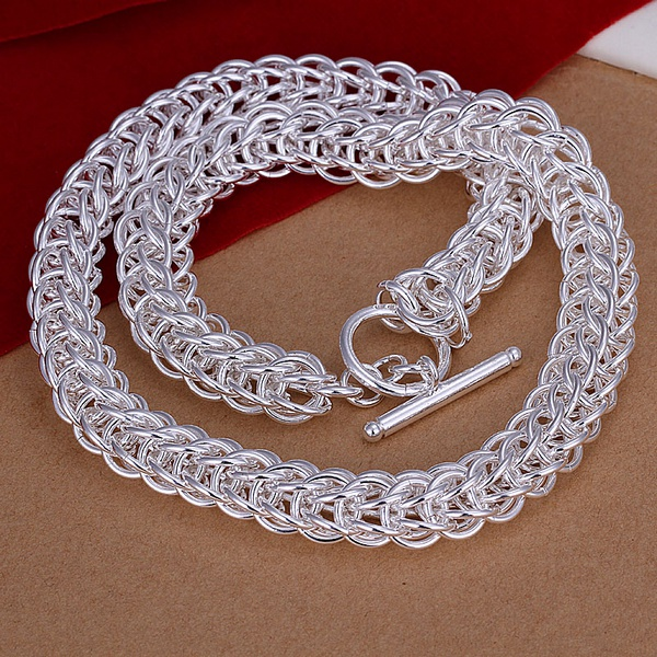 Factory direct high-quality fashion Silver plated jewelry Men refined retro twist circle TO necklaces N139(China (Mainland))