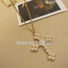 Buy Imitation Pearls cross necklace Gold Color Plated cross pendant sweater chain fashion jewelry wholesale women's accessories for $3.21 in AliExpress store