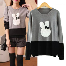 Woman Sweater New Fashion Lovely Slim Loose Rabbit Print Long-Sleeved Hit Color Knitwear Ladies Casual All-Match Sweater(China (Mainland))