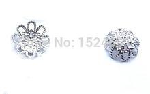10mm metal receptacle beads flower hat *clip tube cap cord bronze *