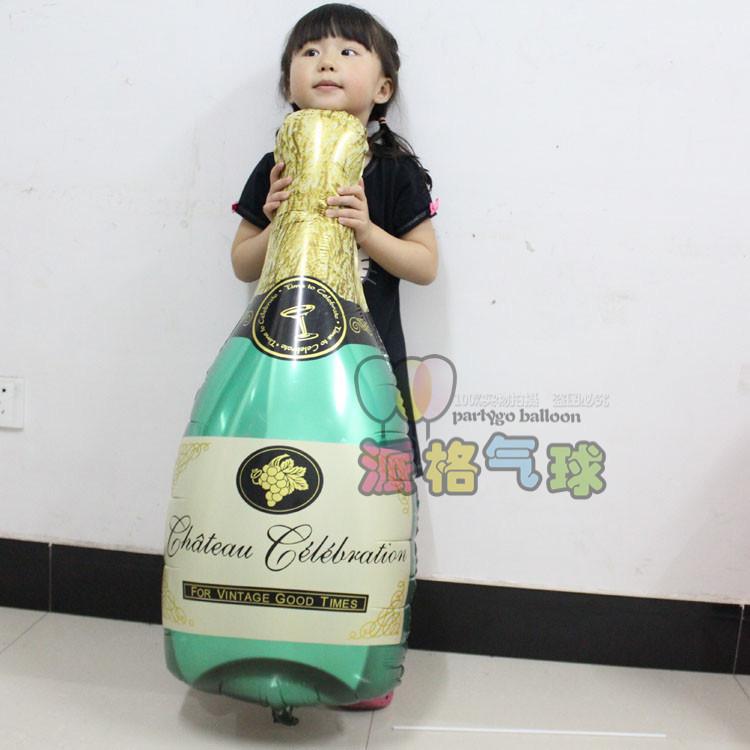 5pcs/lot Green Champagne Bottle balloons foil ballon Wedding Decoration birthday Party Ballon(China (Mainland))