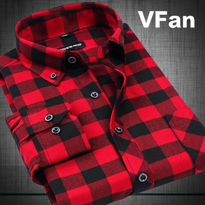 VFan Flannel Men Plaid Shirts 2014 New Autumn Luxury Slim Long Sleeve Brand Formal Business Fashion Dress Warm Shirts E1203(China (Mainland))