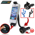 Car Phone Holder with Dual USB Charger Cigarette Lighter Socket Mount Stand For Cell Phone GPS