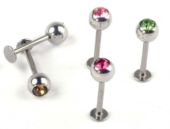 1 Crystal Stainless Steel Lip Piercing Labret Rings Shape Ear Stud Tragus Body Jewelry Unisex - jewelry store