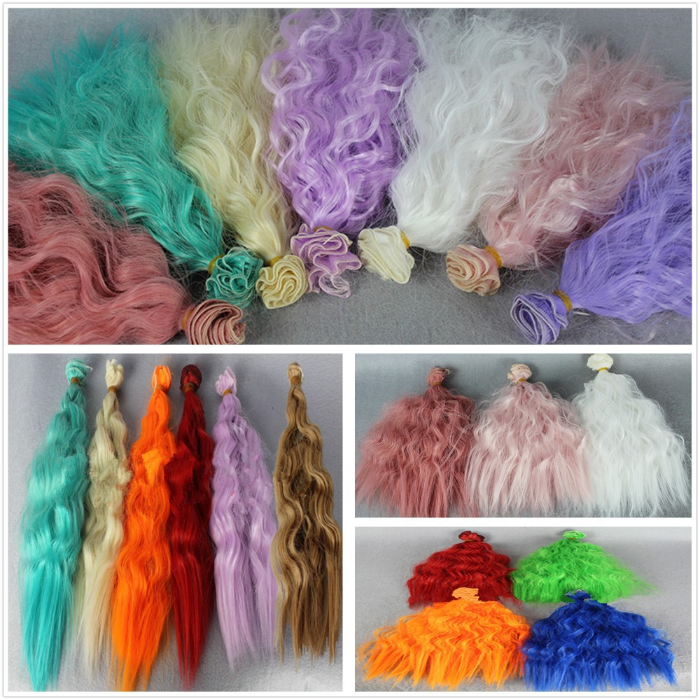 3Pcs/lot NEW Corn Curly Wavy Doll DIY Wigs For 1/3 1/4 1/6 BJD SD High-temperature Wire Handmade Doll Wig Hair 25*100CM 13Colors(China (Mainland))