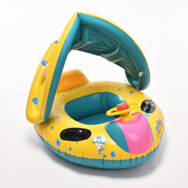 1 шт. бассейн воды сиденье с анти-уф навес надувные малышей детские плавать кольцо ...