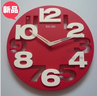 12inches Creative fashion decorative clocks mute contracted sitting room bedroom wall clock ou bracket clock supe(China (Mainland))