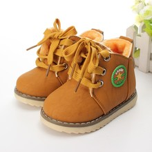 2015 New Motorcycle Boys Girls Kids Plush Hand Stitching Cotton Shoes ankle Boots Childrens snow Boots Warm Leather Botas(China (Mainland))