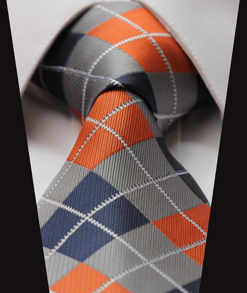 TC4033N8 Orange Gray Check New 3.4 inch 100% Silk Jacquard Woven Classic Man's Tie Necktie - HISDERN store