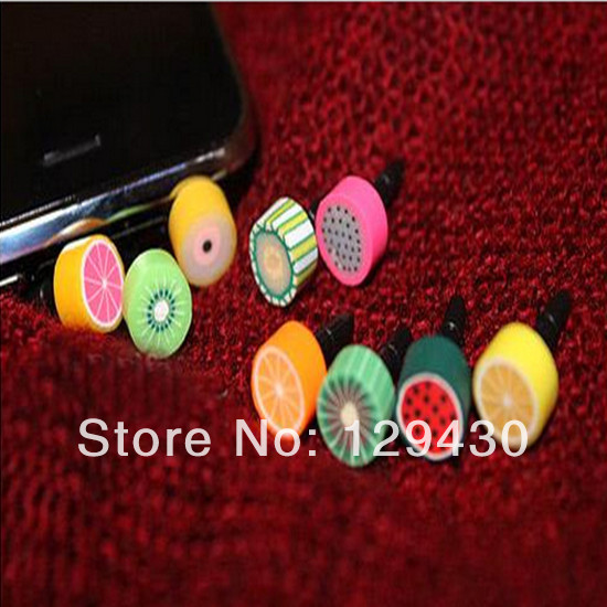 Cute Fruit Anti Dust Plug Headphone Dustproof Stopper Ear Jack Cap for iphone 5 5S 4 4S Mobile Phone Tablet pc(China (Mainland))
