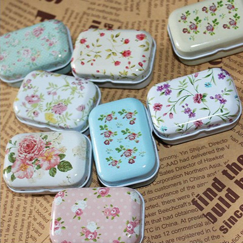 Lovely Flower Iron Tin Storage Bag Gift Mini Jewelry Box Decor Card Pill Case #52042(China (Mainland))