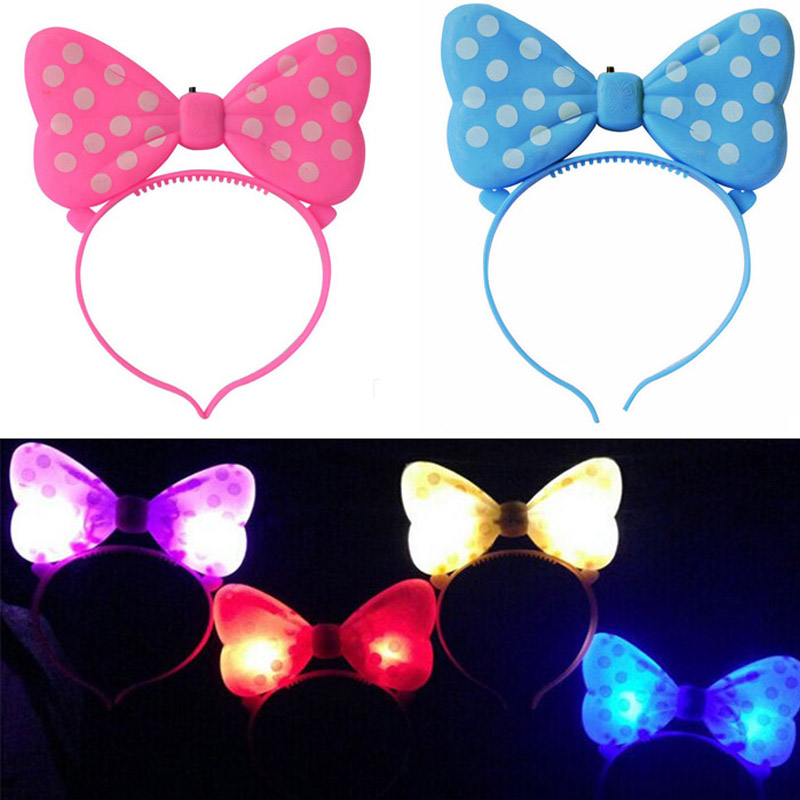 LED Light Up Flashing Butterfly Polka Dot Head Bands Party Wedding Prom Headband Hair Accessories Daily Wear(China (Mainland))