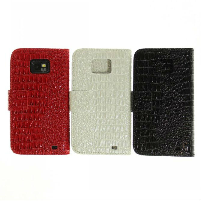 Luxury Crocodile Leather Skin Cover Credit Card Holder Case For Samsung Galaxy S2 S II i9100 Accessories(China (Mainland))