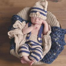 Newborn Baby Photography Props Crochet Costume Striped Soft Outfits Beanie + Pants