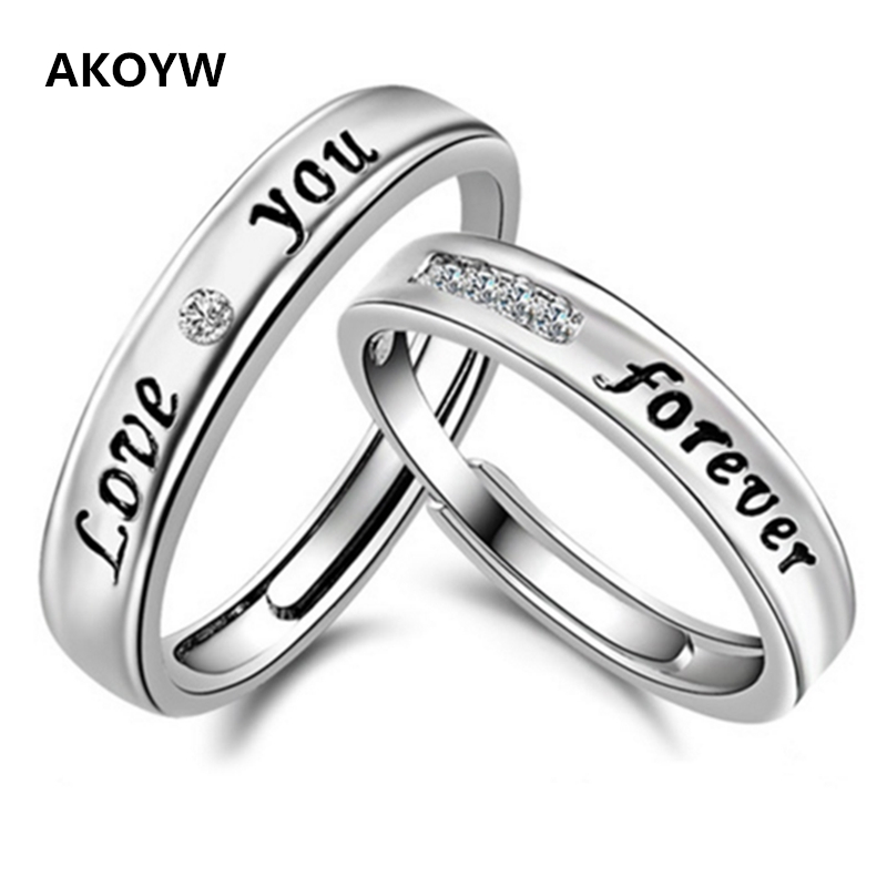 Epoxy LOVE love English Silver plated eternity ring for men and women couple models ring opening ring crystal jewelry(China (Mainland))