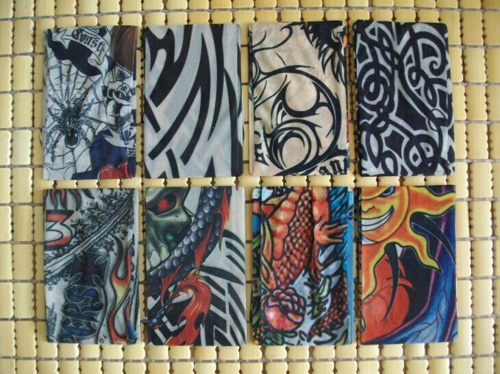 4 PCS new mixed Nylon elastic Fake temporary tattoo sleeve designs body Arm stockings tatoo for cool men women Drop shipping(China (Mainland))