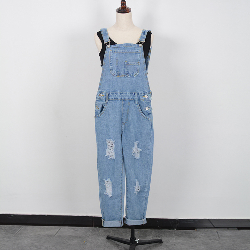2016 Spring Summer Baggy Pants Women Overalls Denim Pants Hole Ripped With Pockets Bib Jeans Slim Fit Femme Trousers Jumpsuit(China (Mainland))