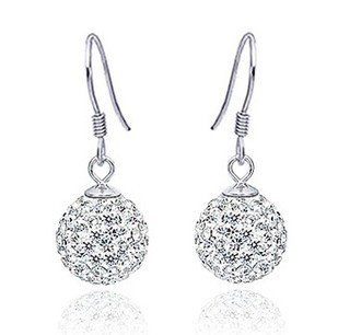 fashion ball 925 sterling silver & AAA swiss diamond platinum plated female drop earrings - Life in Color Co.,Ltd store